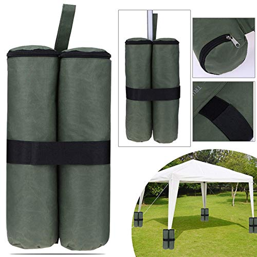 PUJING 4Pcs Canopy Sand Shelter Tent Weight Bag Durable Gazebo Tent Leg Weighted SandBags Pop Up Canopy Tent Foot Sandbags-Army Green