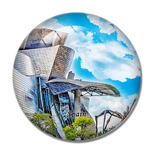 'N/A' España Imán España Museo Guggenheim Bilbao Imán de Nevera 3D Artesanía Recuerdo Cristal Refrigerador Imanes Colección Regalo de Viaje