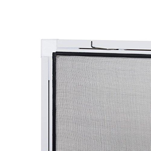 empasa Insektenschutz fürs Fenster: Stabiles Fliegengitter zur einfachen Selbstmontage, Alurahmen in Weiß mit den Maßen 120 x 140, hochwertiges Gewebe in Schwarz für bessere Durchsicht