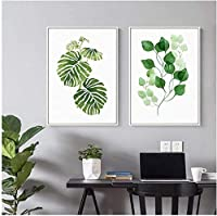 壁用プリント2ピース60x80cmフレームなしモダングリーンの葉北欧の壁アート写真ポスターキッチン用プリントリビングルームホームオフィスの装飾