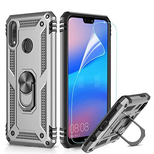 LeYi Hülle für Huawei P20 Lite Handyhülle mit Folie Schutzfolie, 360 Grad Drehbar Magnetische Ringhalter Cover TPU Bumper Stoßdämpfung Schutzhülle für Case Huawei P20 Lite Handy Hüllen Silber