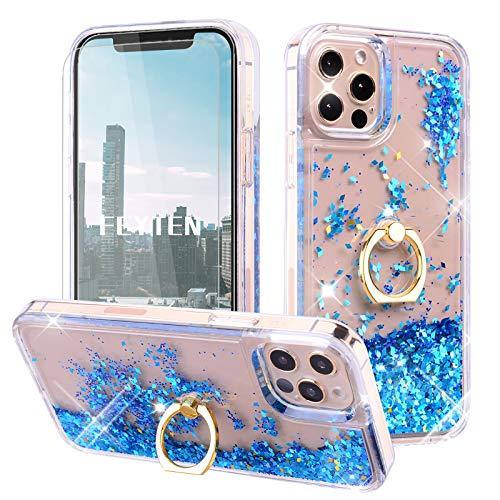 Feyten Funda para iPhone 12 Pro MAX [2-Unidades Cristal Vidrio Templado],Glitter Moda 3D Bling Flowing Liquida Flotante Sparkly Brillante Carcasas para iPhone 12 Pro MAX (6,7 Pulgadas) (Azul)