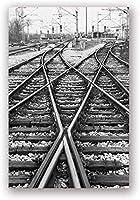 線路ブラックホワイトキャンバス絵画鉄道壁アートプリントヴィンテージ線路Hd写真写真ポスター家の写真装飾40x60cmフレームなし