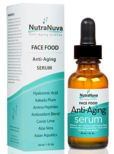 NutraNuva Face Food Anti Aging Natural Serum Complex VEGAN Formula, Kakadu Plum, Hyaluronic Acid, Peptides, AHAs, Aquatic Plants, Aloe and more for Wrinkles, Age Spots, More Collagen,1 fl. Oz