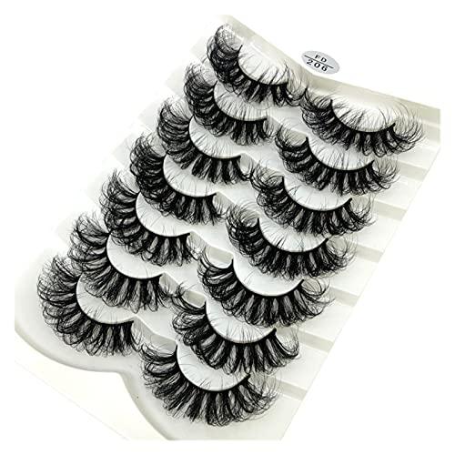HUBAN 7/8 Pares 15-25mm Natural 3D Pestañas Falsas pestañas Falsas Kit de Maquillaje Mink Theses Extensión Eyelajones (Color : Q)