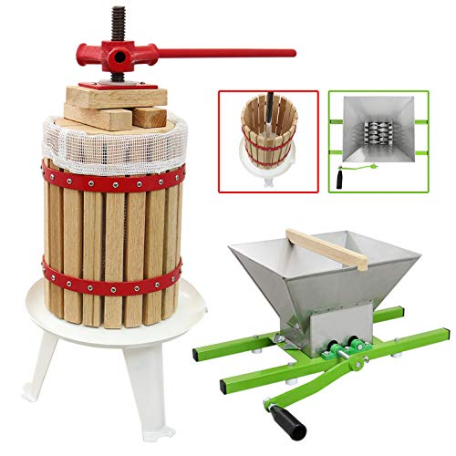 18 Litre Fruit Press with 7 Litre Crusher and Straining Bags, Apple, Cider, Grape, Wine, Beer Making...