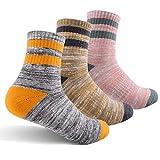 Feideer Damen Wandersocken, Multipack Outdoor Freizeitsocken Wicking Cushion Crew Socken - - Medium