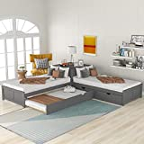 SOFTSEA L-Shaped Corner Platform Beds with Trundle and Drawers Linked with Built-in Desk, 3 Beds in One for Kids Teens Bedroom Furniture (Gray,3Bed)