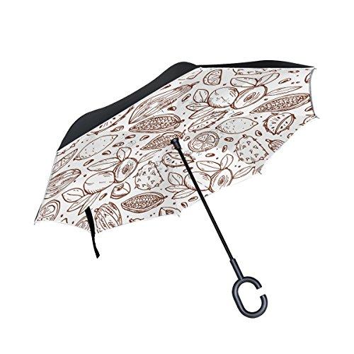 jstel Double Layer seitenverkehrt Fruit Icons Regenschirm Cars Rückseite winddicht Regen Regenschirm für Auto Outdoor mit C geformter Griff