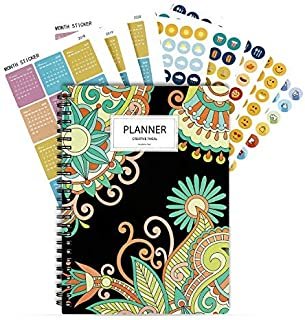 """2019 Planner with Stickers, Weekly & Monthly Planners for Girl & Student,12 Monthly Tabs-Undated Planner, 8.5""""X6.5"""" (Bohemia)"""