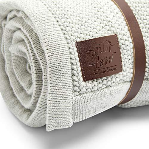 The Little Green Sheep Bio en tricot en polaire couverture pour bébé, Dove