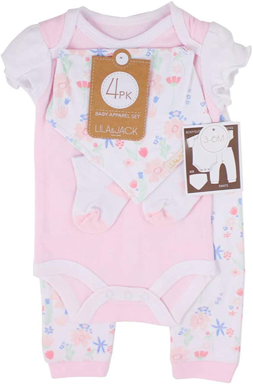Lila & Jack 4 Piece Layette Set - Bodysuit, Bandanna, Bib, Socks - Baby Girl Newborn Clothing Set - Floral