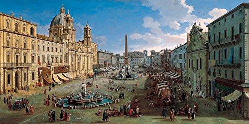 Sensación en casa CANVAS-ENMARCADO-con-AMERICAN-BOX-Piazza-Navona-Roma-van-Wittel-Gaspar-Paisaje-Fine-Arte impreso en madera-marco horizontal, 22_X_46_in