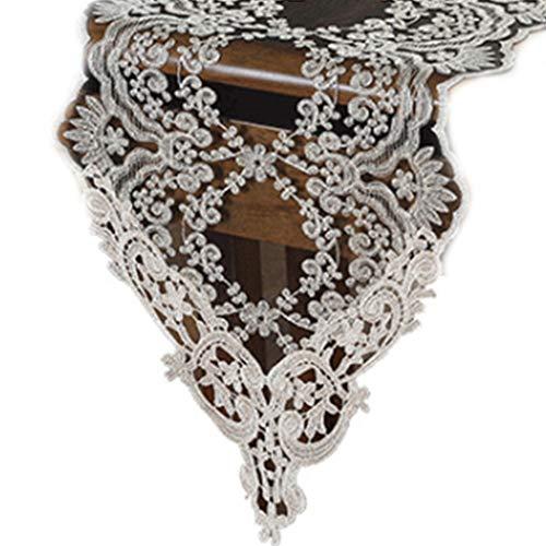 Koobysix Tafelloper 30x70cm Zwart Bloemen Kant Tafelloper Delicate Borduurwerk Vintage Bruiloft Tafelkleed Dressoir Sjaal Banket Thuis Party Decor