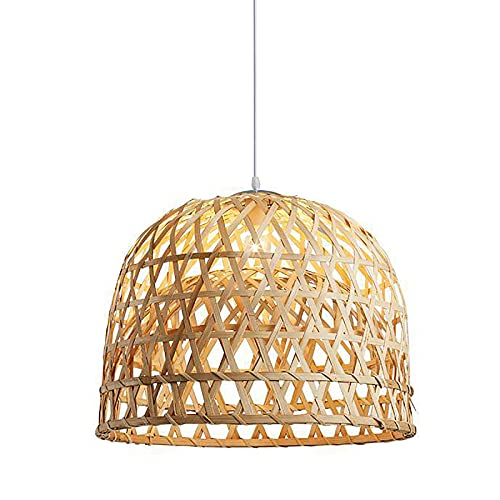 Pantalla de bambú hecha a mano, lámpara de techo colgante de rafia de ratán, luz colgante de nido creativo, decoración del hogar para café, librería, pasillo, comedor, 35 x 22 cm