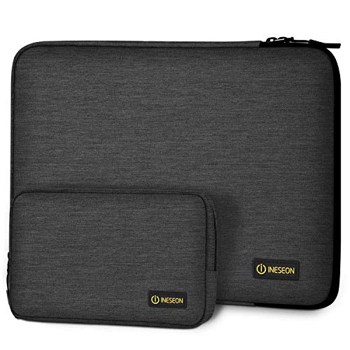 I INESEON Laptop Sleeve Case for 14-inch HP Lenovo Acer Dell Chromebook Notebook, 2016-2019 MacBook Pro 15, 15'' Surface Laptop 3, Shockproof Protective Cover with Accessory Pouch, Dark Grey