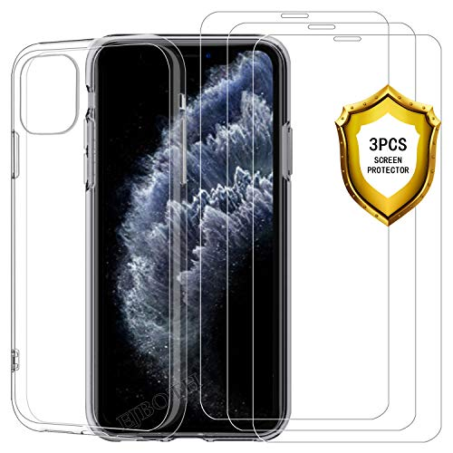 EJBOTH Screen Protector for iPhone 11 Pro Tempered Glas Film (3pcs) + iPhone 11 Pro Case Cover Transparent, [Easy to Apply][No Bubbles]
