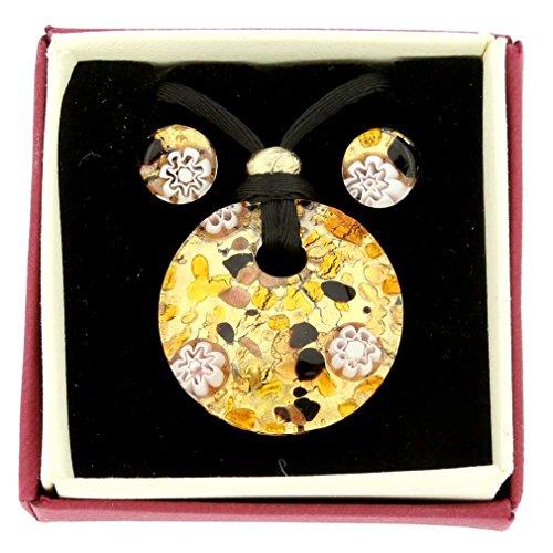 GlassOfVenice Venezianische Reflexionen Runde Halskette und Ohrringe Set - Topas Gold