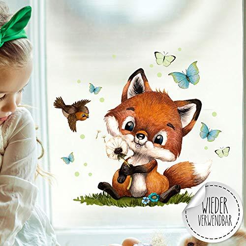 ilka parey wandtattoo-welt Fensterbild Fuchs Füchschen Pusteblume Schmetterlinge wiederverwendbar Fensterdeko Fensterbilder Frühling Deko Dekoration bf127 - ausgewählte Größe: *1. Fuchs Pusteblume*