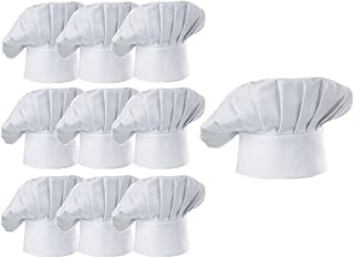 Hyzrz Chef Hat Set of 10 PCS Pack Adult Adjustable Elastic Baker Kitchen Cooking Chef Cap, White