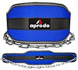 APRODO Sports DIP Belt with Steel Chain 36 INCHES Weighted Chain for DIPS Pull UPS Weight Lifting Crossfit ONE Size FITS All (Blue)