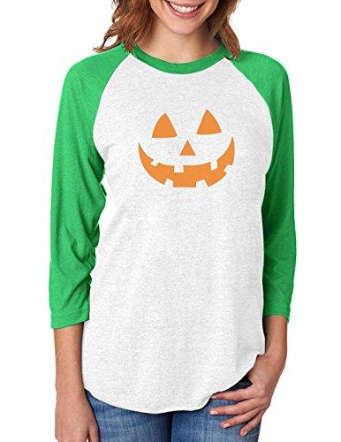 Pumpkin Women Halloween Shirt Jack O' Lantern Face 3/4 Sleeve Baseball Jersey Medium Green/White