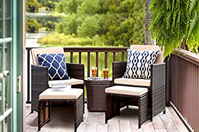 KaiMeng 4 Pieces Patio Furniture Space Saving Outdoor Brown Black Wicker Rattan Dining Sofa Chairs Cushioned Balcony Porch Sets with Ottomans (Beige)
