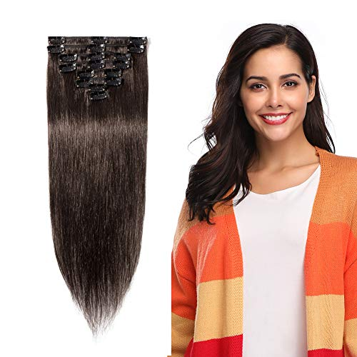 """Clip in 100% Remy Human Hair Extensions 8""""-24"""" Grade 7A Quality Full Head 8pcs 18clips Short Soft Silky Straight for Women Fashion 8"""" / 8 inch 65g , #2 dark brown"""