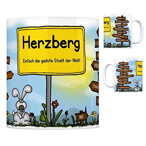 Herzberg (Elster) - Einfach die geilste Stadt der Welt Kaffeebecher Tasse Kaffeetasse Becher mug Teetasse Büro Stadt-Tasse Städte-Kaffeetasse Lokalpatriotismus Spruch kw Paris Dessau London Leipzig