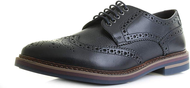 Base London Mens redhko Waxy Print Navy Brogue Smart shoes