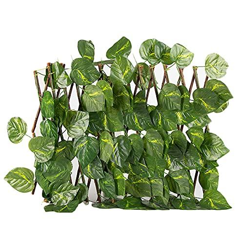 ZRSWV Valla de enrejado expansible, valla de hojas artificiales retráctil, pantalla de privacidad protegida contra los rayos UV, decoración de paredes verdes para interiores y exteriores (A2)