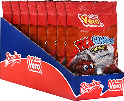 Dulces Vero Pica Gomas – Tamarind and Chili Gummy Candy - Sweet and Spicy Candy, Box with 7 Gummy Bags of 30 pieces