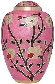 Liliane Memorials Fleur_Pink_L Brass Rose Funeral Cremation Urn with Enameled Flowers Fleur, Large/200 lb, Pink