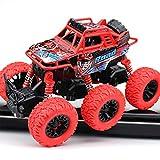 モンスタートラック6車輪駆動摩擦駆動ギフトおもちゃ幼児慣性合金モデル360度フリッピングアンチショッククローラー屋外オフロード車(赤)
