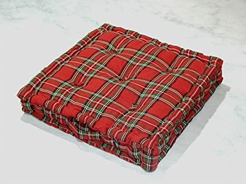 Tiny Break - 100% algodón - Cojín de suelo grande - Cojín cuadrado de jardín exterior - Silla de comedor interior - Cojín de asiento - 50 x 50 x 10 cm - Edward Tartan Checks