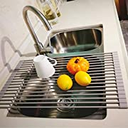 """LEASEN Over the Sink Silicone Roll-up Dish Drying Rack Kitchen Drainer Rack (Large 20.5""""L x 13.5""""W, Round Rob) (Warm Gray)"""