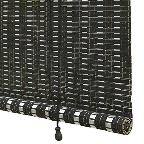 WYAN Schwarzer Bambus-Rollos Haken Typ, im japanischen Stil Roll Up Rolläden for Fenster, Tür, Wasserdicht Mildew, Lichtfilterung 80% Per finestra/Porta/Patio (Size : 100 * 280CM)