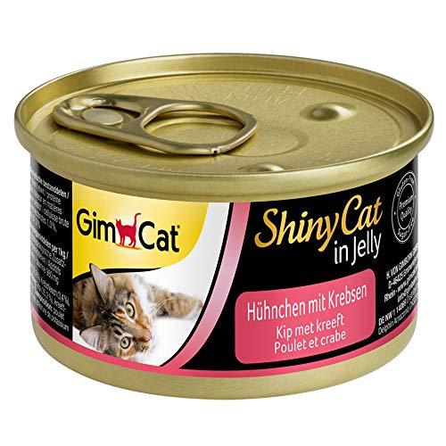 GimCat ShinyCat in Jelly Poulet au crabe – Nourriture humide pour chats à la viande et taurine – 24 boîtes (24 à 70 g)