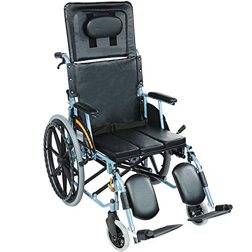 DGPOAD Rollstuhl,für ältere und behinderte Menschen, Selbstfahren, aus Stahl, Leichtgewicht, Pflegerollstuhl mit Liegefunktion, Beinstütze, Kopfstütze, Sitzbreite 46 cm