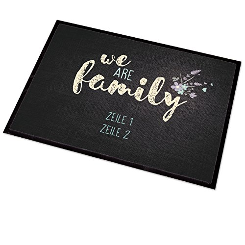 Cera & Toys® persönliche Fußmatte - we Are Family - mit Ihrem Wunschtext in 2 Zeilen
