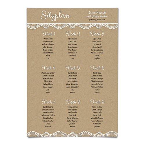 1 x Hochzeit Sitzplan Plakat Sitzordnung individuell - Rustikal Kraftpapier Look