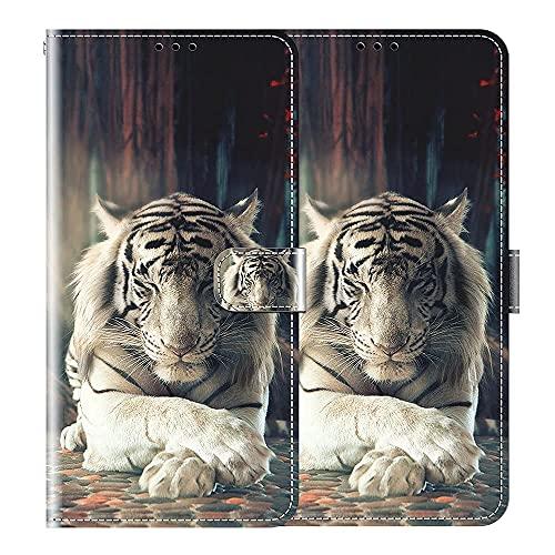 vingarshern Hülle für LG X Power 3 Handytasche Klappbares Magnetverschluss Lederhülle Flip Etui Standfunktion Schutzhülle LG Xpower 3 Hülle Leder Brieftasche-(Tiger) MEHRWEG