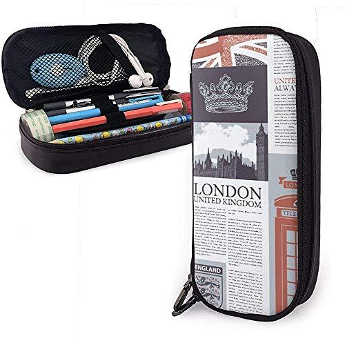 Großbritannien und London Nette Stift Federmäppchen Leder Große Kapazität Doppelreißverschlüsse Bleistiftbeutel Tasche Stifthalter Box 20 cm * 9 cm * 4 cm