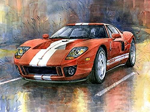 Pintura colorida del coche pinturas al óleo acrílicas por números pintado a mano DIY digital lienzo pintado regalo decoración de la pared del hogar A3 50x65cm