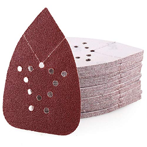 60 Grit Sanding Pads for Black and Decker Mouse Sanders, 12 Holes Hook and Loop Sandpaper - LotFancy Detail Palm Sander Sanding Sheets, Pack of 50
