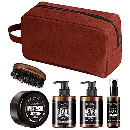 Kit Barba e Baffi + Spazzola H-Zone Essential Beard - Set Composto da Shampoo, Balsamo, Olio, Cera e Spazzola Barba con setole in cinghiale rinforzato + ALTÉAX® Beauty - Ottima Idea Regalo