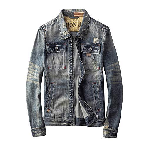 E/A Jeansjacke Herbst personalisierte Reißverschluss Motorrad Herren Jeansjacke Jeans Mode Retro-Jacke