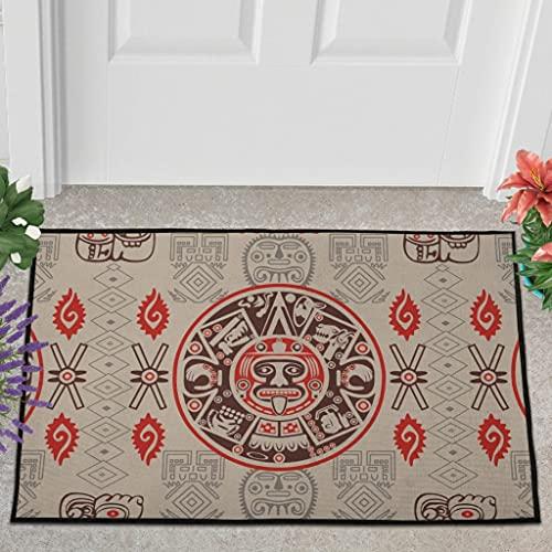 Veryday Felpudo azteca Mayan Tribal, felpudo de entrada, felpudo para la puerta de casa, blanco, 60 x 90 cm