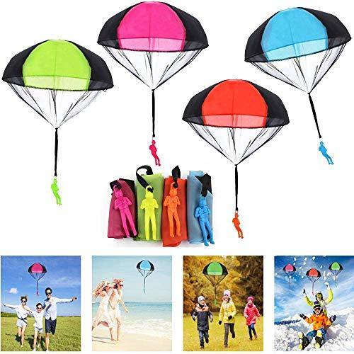 Miotlsy Juguete de Paracaídas 8 Piezas Juguete Paracaídas Set con Soldados Juegos al Aire Libre Juguete Volador Regalo para Niños Mayores de 3 Años