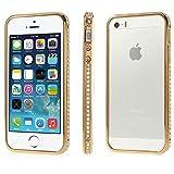 XAiOX Apple iPhone 5y 5S–carcasa de aluminio con diamantes de imitación en dorado con Protector de pantalla